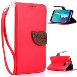 Samsung Galaxy S6 Edge PU Lederen Wallet Leaf Rood