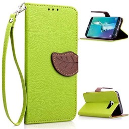 Samsung Galaxy S6 Edge PU Lederen Wallet Leaf Groen