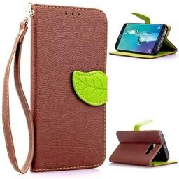 Samsung Galaxy S6 Edge PU Lederen Wallet Leaf Bruin