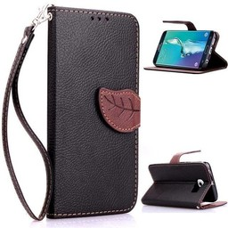 Samsung Galaxy S6 Edge PU Lederen Wallet Leaf Zwart