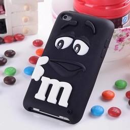 Ipod Touch 4 (G) siliconen bescherm hoesje M&M Zwart