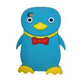 Ipod Touch 4 (G) siliconen bescherm hoesje Pinguin Licht blauw