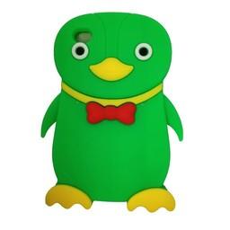 Ipod Touch 4 (G) siliconen bescherm hoesje Pinguin Groen