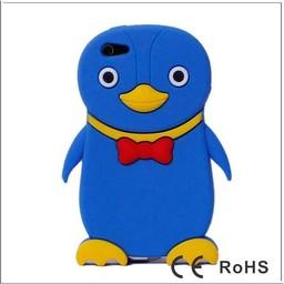 Ipod Touch 4 (G) siliconen bescherm hoesje Pinguin Paars-Blauw