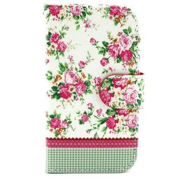 Samsung Galaxy S Duos(2)/Trend Plus PU Lederen Wallet hoesjes Flowers