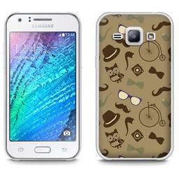 Samsung Galaxy J1 TPU hoesje Retro Bruin