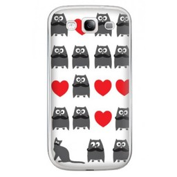 Samsung Galaxy S3 TPU Hoesje Cat and Owl
