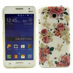 Samsung Galaxy Core 2 TPU soft case hoesje Flowers