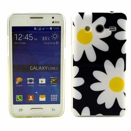 Samsung Galaxy Core 2 TPU soft case hoesje Flowers Blauw