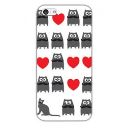 Iphone 5C TPU hoesje Cat and Owl