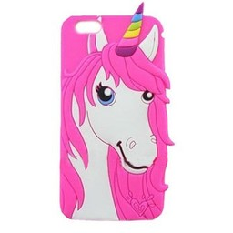 Iphone 4 (S) Siliconen hoesje Unicorn Rose