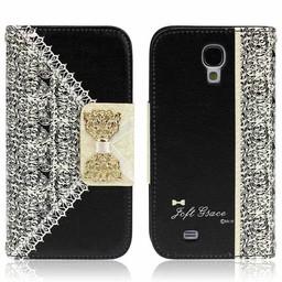 Samsung Galaxy S4 PU lederen Wallet Bling Zwart