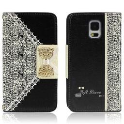 Samsung Galaxy S5 PU lederen Wallet Bling Zwart