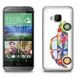 HTC Desire M9 TPU hoesje VW Kever Flower Power