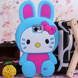 Hello Kitty siliconen hoesjes Blauw voor Samsung Galaxy S2
