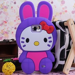 Hello Kitty siliconen hoesjes Paars voor Samsung Galaxy S2