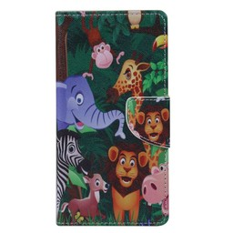 Samsung Galaxy J1 (2015) PU Lederen Wallet Book hoesjes Animals