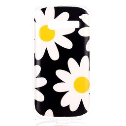 Alcatel Pop C5 TPU hoesje Flower Yellow and White