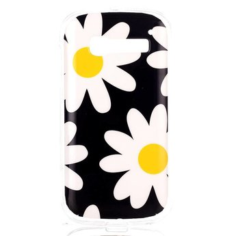 Alcatel Pop C5 TPU hoesje Flower Yellow and White