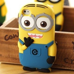 Ipod Touch 4 (G) siliconen bescherm hoesje Minion Two Eyes  Blauw