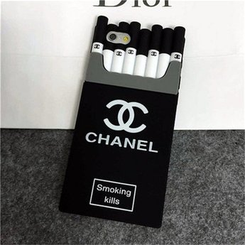Iphone 5 (S) Siliconen hoesje Sigaretten doosje Zwart - Wit