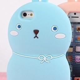 Iphone 4 (S) Siliconen hoesje Mozzi konijntje Blauw