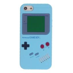 Iphone 5 (S) Siliconen hoesje Retro GameBoy Licht Blauw