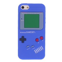 Iphone 5 (S) Siliconen hoesje Retro GameBoy Blauw