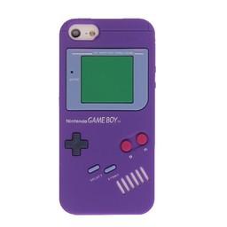 Iphone 5 (S) Siliconen hoesje Retro GameBoy Paars