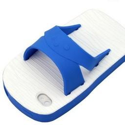 Iphone 4(S) siliconen hoesje Badslipper Blauw