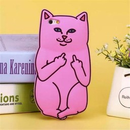 Iphone 4(S) siliconen hoesje Pink Cat