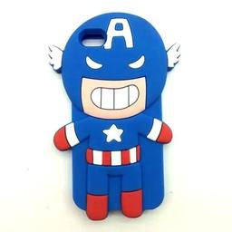 Iphone 5(S) en 5C Siliconen hoesje Cartoon superhelden Captain America