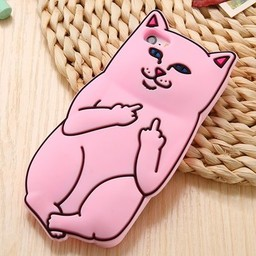 Iphone 5(S) siliconen hoesje Light Pink Cat