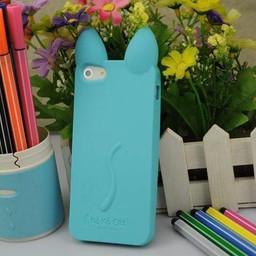 Iphone 4(S) siliconen hoesje Koko Cat Licht Blauw