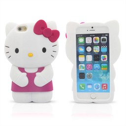 Iphone 6 (4,7 inch) Siliconen hoesje Hello Kitty Paars/Rose