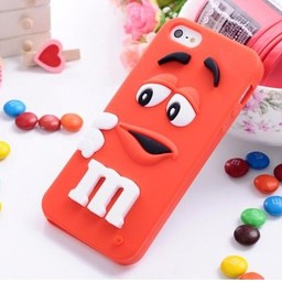Iphone 5 (S) Siliconen hoesje M&M Rood