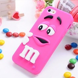 Iphone 5 (S) Siliconen hoesje M&M donker Rose