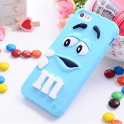 Iphone 5 (S) Siliconen hoesje M&M Blauw