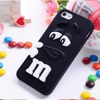 Iphone 5 (S) Siliconen hoesje M&M zwart