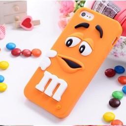Iphone 5 (S) Siliconen hoesje M&M Oranje