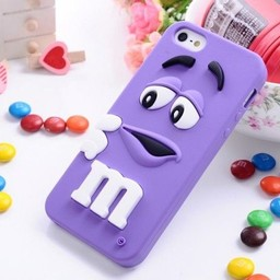 Iphone 5 (S) Siliconen hoesje M&M Paars