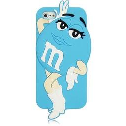 Iphone 5 (S) en 5 C Siliconen hoesje M&M Blauw Girl