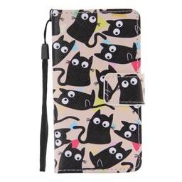 LG Leon 4G LTE PU Wallet Book hoesje Black Cat
