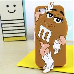 Iphone 5 (S) en 5 C Siliconen hoesje M&M Brown Girl