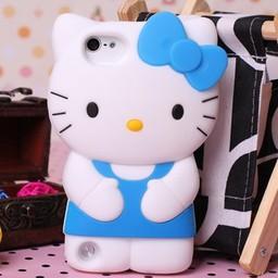 Ipod Touch 5 (G) en 6 (G) siliconen bescherm hoesje Hello Kitty Blauw