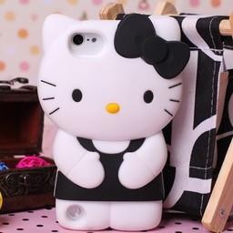 Ipod Touch 5 (G) en 6 (G) siliconen bescherm hoesje Hello Kitty Zwart