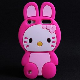 Ipod Touch 5 (G) en 6 (G) siliconen bescherm hoesje Hello Kitty Bunny Rose