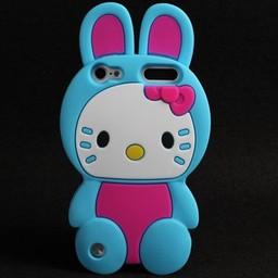 Ipod Touch 5 (G) en 6(G) siliconen bescherm hoesje Hello Kitty Bunny Blauw