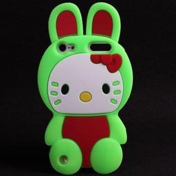 Ipod Touch 5 (G) en 6(G) siliconen bescherm hoesje Hello Kitty Bunny Groen