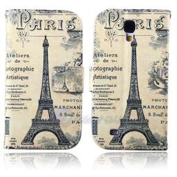 Samsung S4  leren wallet book case Parijs